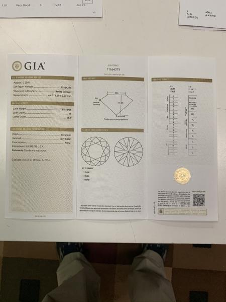 Jewelry 1.01 ROUND DIAMOND SOLITAIRE, 14KT WHITE, SIZE 5.5, GIA H-VS2, VG SYM, RAP $7500