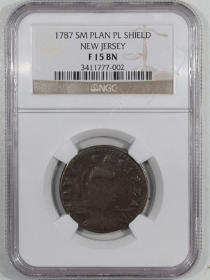 Colonials 1787 SM PLAN PL SHIELD NEW JERSEY NGC F-15 BN – SMOOTH, NICE COLLAR!