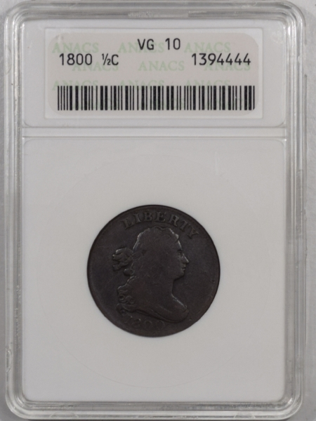New Certified Coins 1800 DRAPED BUST HALF CENT – ANACS VG-10