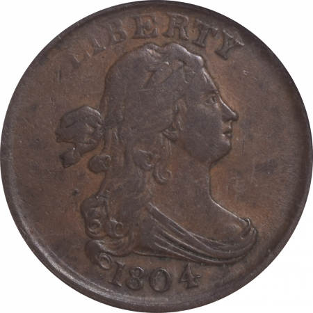 New Certified Coins 1804 DRAPED BUST HALF CENT – PLAIN 4, NO STEMS, C-13 – ANACS VF-20