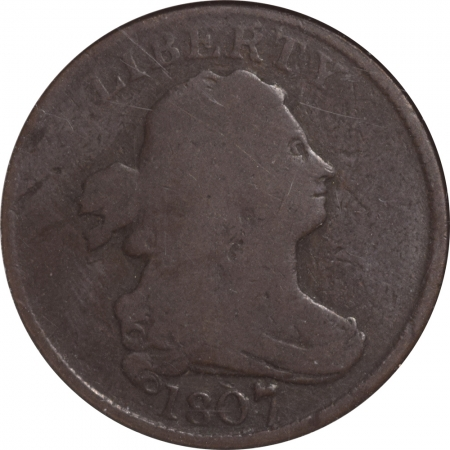 Coin World/Numismatic News Featured Coins 1807 DRAPED BUST HALF CENT – C-1 – ANACS G-6