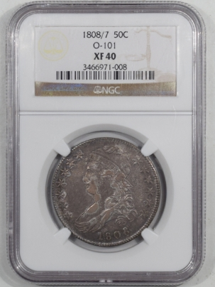 Early Halves 1808/7 CAPPED BUST HALF DOLLAR, O-101, NGC XF-40, PLEASING TONING!