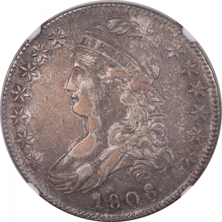New Certified Coins 1808/7 CAPPED BUST HALF DOLLAR, O-101, NGC XF-40, PLEASING TONING!