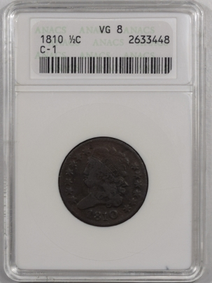 New Certified Coins 1810 CLASSIC HEAD HALF CENT – C-1 – ANACS VG-8