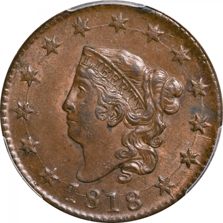 CAC Approved Coins 1818 CORONET HEAD LARGE CENT – PCGS MS-62 BN ORIGINAL LUSTER, CAC APPROVED!