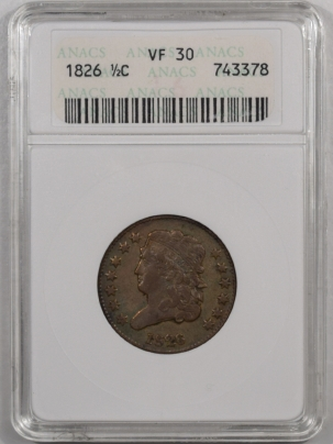 New Certified Coins 1826 CLASSIC HEAD HALF CENT – ANACS VF-30