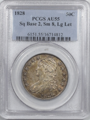 Coin World/Numismatic News Featured Coins 1828 CAPPED BUST HALF DOLLAR SQ BASE 2, SM 8, LG LETTERS – PCGS AU-55 FRESH & PQ