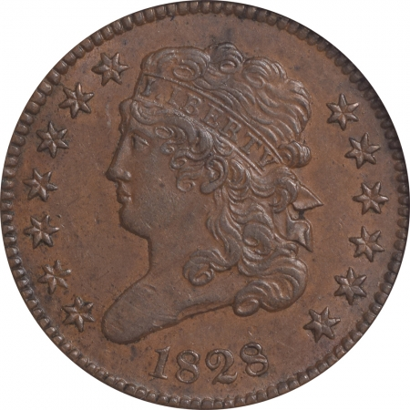 New Certified Coins 1828 CLASSIC HEAD HALF CENT – 13 STAR – ANACS AU-55 SMOOTH & PREMIUM QUALITY!
