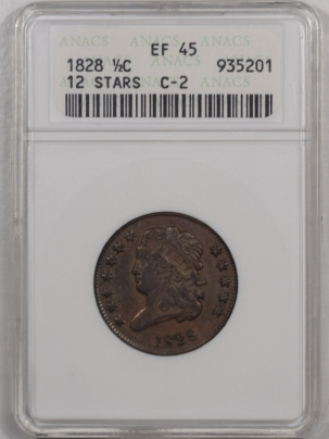 New Certified Coins 1828 CLASSIC HEAD HALF CENT – 12 STARS, C-2 – ANACS EF-45, TOUGH!
