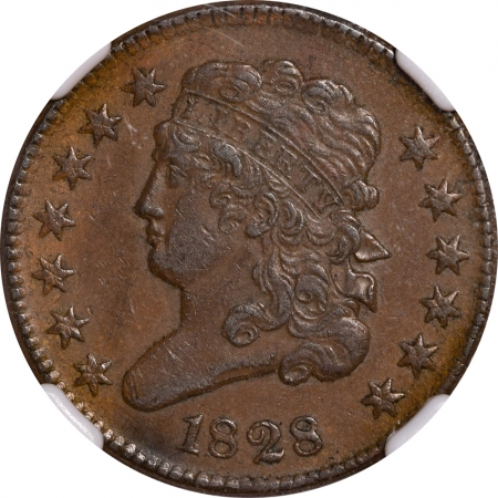 New Certified Coins 1828 CLASSIC HEAD HALF CENT – NGC AU-55 BN