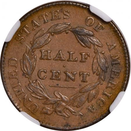 Classic Head Half Cents 1828 CLASSIC HEAD HALF CENT – NGC AU-55 BN