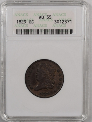 New Certified Coins 1829 CLASSIC HEAD HALF CENT – ANACS AU-55