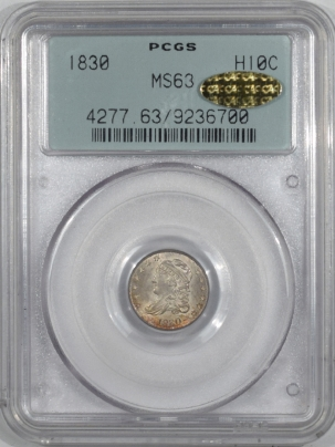 CAC Approved Coins 1830 CAPPED BUST HALF DIME PCGS MS-63 GOLD CAC TWO PIECE RATTLER, PQ++ LOOKS GEM