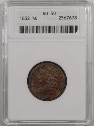 New Certified Coins 1832 CLASSIC HEAD HALF CENT – ANACS AU-50