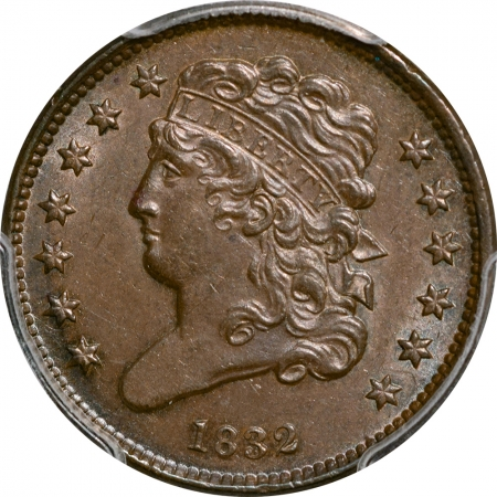New Certified Coins 1832 CLASSIC HEAD HALF CENT – PCGS MS-62 BN PREMIUM QUALITY!+