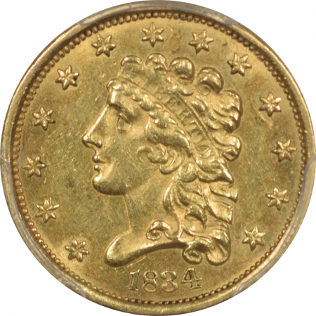 $2.50 1834 $2.50 CLASSIC HEAD GOLD – PCGS AU-58
