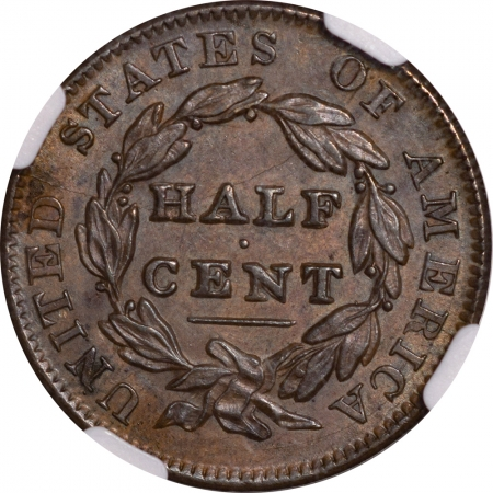 New Certified Coins 1835 CLASSIC HEAD HALF CENT – NGC MS-62 BN, FRESH & PQ!