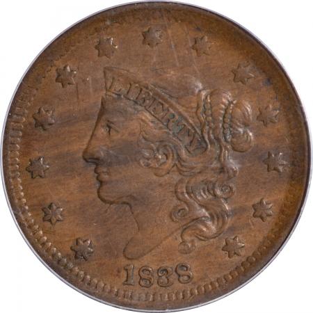 Coronet Head Large Cents 1838 CORONET HEAD LARGE CENT – PCGS AU-50