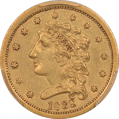 New Certified Coins 1838 $2.50 LIBERTY HEAD GOLD – PCGS AU-50, LOOKS AU-55 & PREMIUM QUALITY!
