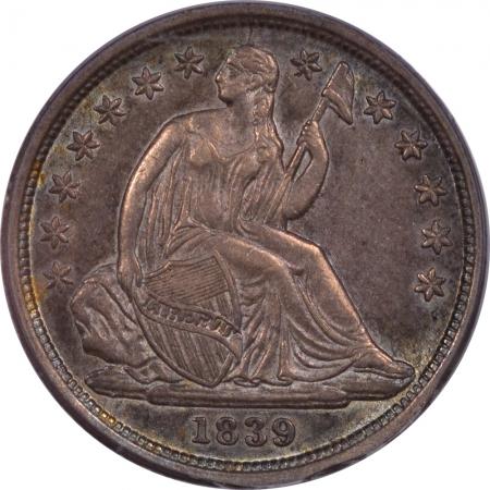 Liberty Seated Dimes 1839 SEATED LIBERTY DIME – NO DRAPERY – PCGS AU-55 PRETTY!