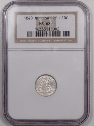 Coin World/Numismatic News Featured Coins 1840 SEATED LIBERTY HALF DIME – NO DRAPERY – NGC MS-62 FLASHY & NICE!