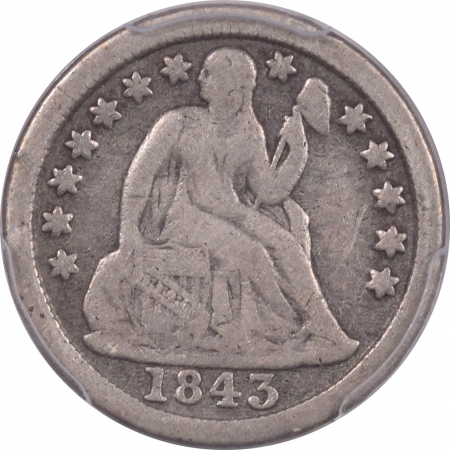 New Certified Coins 1843 SEATED LIBERTY DIME – PCGS F-12