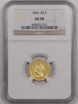 New Certified Coins 1846 $2.50 LIBERTY HEAD GOLD – NGC AU-58, RARE!