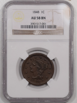 New Certified Coins 1848 BRAIDED HAIR LARGE CENT – NGC AU-58 BN