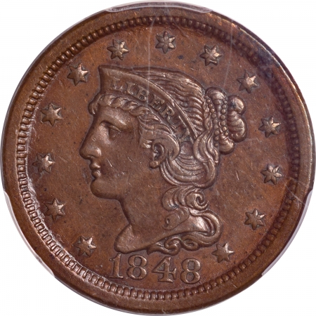 New Certified Coins 1848 BRAIDED HAIR LARGE CENT – PCGS AU-53