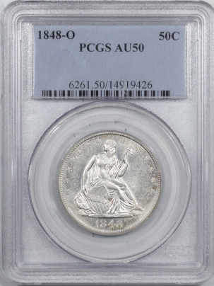 New Certified Coins 1848-O LIBERTY SEATED HALF DOLLAR – PCGS AU-50 FLASHY!