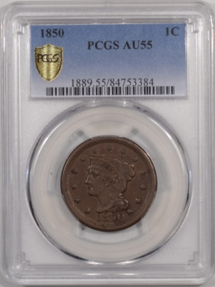 New Certified Coins 1850 BRAIDED HAIR LARGE CENT – PCGS AU-55