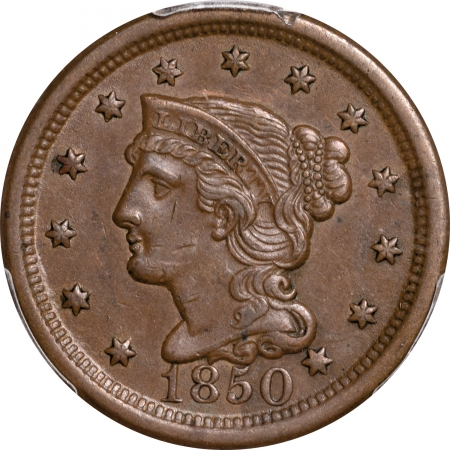 Braided Hair Large Cents 1850 BRAIDED HAIR LARGE CENT – PCGS AU-55