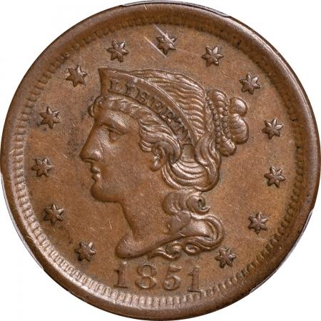Braided Hair Large Cents 1851 BRAIDED HAIR LARGE CENT – PCGS AU-53