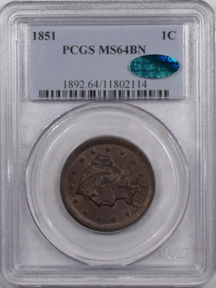 Braided Hair Large Cents 1851 LARGE CENT PCGS MS-64 BN CAC, ORIGINAL & PQ
