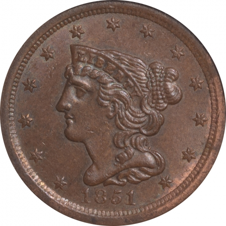 New Certified Coins 1851 BRAIDED HAIR HALF CENT – ANACS MS-61 BN