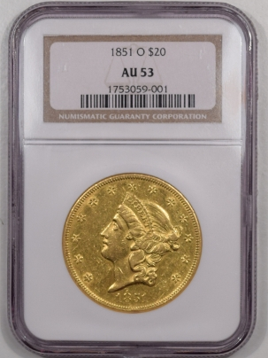 $20 1851-O $20 LIBERTY HEAD GOLD – NGC AU-53, PQ! LOOKS 55!