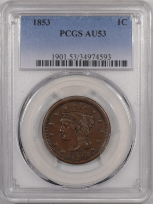 New Certified Coins 1853 BRAIDED HAIR LARGE CENT – PCGS AU-53