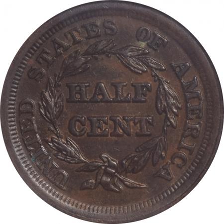 Braided Hair Half Cents 1853 BRAIDED HAIR HALF CENT – ANACS AU-55 PREMIUM QUALITY!