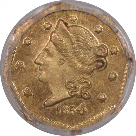 US Gold 1854 50C FRACTIONAL GOLD – BG-305, PCGS GENUINE CLEANED-UNC DETAIL, LOOKS CHOICE