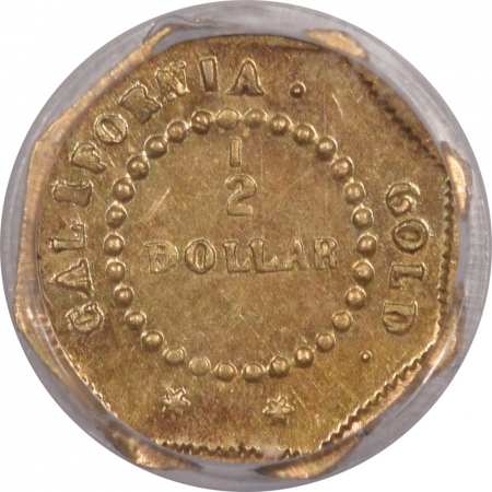 New Certified Coins 1854 50C FRACTIONAL GOLD – BG-305, PCGS GENUINE CLEANED-UNC DETAIL, LOOKS CHOICE