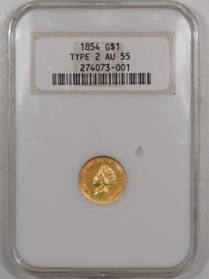 $1 1854 $1 DOLLAR GOLD – TY II, NGC AU-55, AU-58 QUALITY! PQ! OLD FATTY!