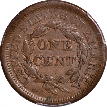 New Certified Coins 1855 BRAIDED HAIR LARGE CENT – UPRIGHT 55, PCGS AU-53