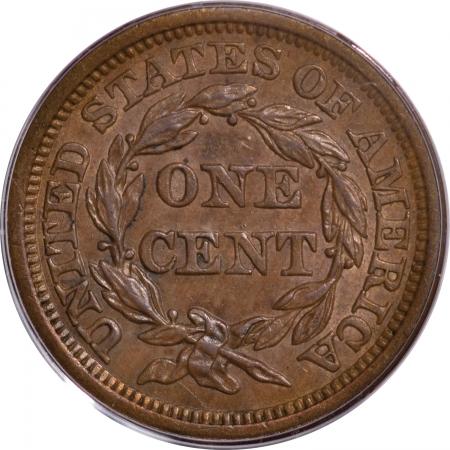 Braided Hair Large Cents 1855 BRAIDED HAIR LARGE CENT – KNOB ON EAR, PCGS AU-55, PQ!