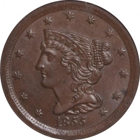 Coin World/Numismatic News Featured Coins 1855 BRAIDED HAIR HALF CENT – ANACS MS-64 BN