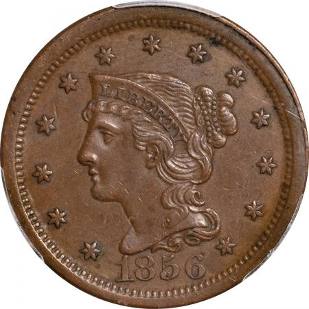 Braided Hair Large Cents 1856 BRAIDED HAIR LARGE CENT – UPRIGHT 5, PCGS AU-53