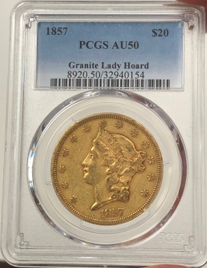 New Certified Coins 1857 $20 LIBERTY HEAD GOLD – PCGS AU-50