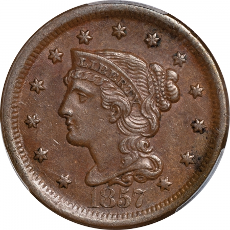 New Certified Coins 1857 BRAIDED HAIR LARGE CENT – LARGE DATE, PCGS AU-55