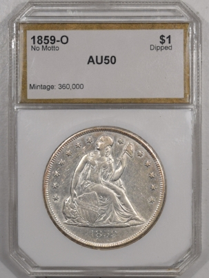 Liberty Seated Dollars 1859-O SEATED LIBERTY DOLLAR – NO MOTTO, HIGH GRADE AU, NEARLY UNC, FLASHY