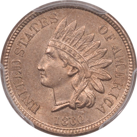 Coin World/Numismatic News Featured Coins 1860 INDIAN HEAD CENT – POINTED BUST, PCGS MS-62