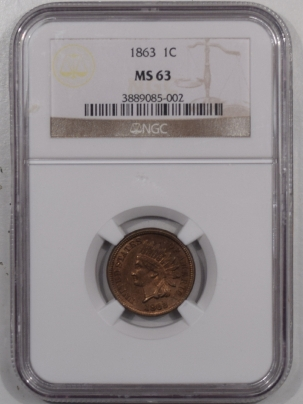 Indian 1863 INDIAN CENT NGC MS-63, GOOD LUSTER